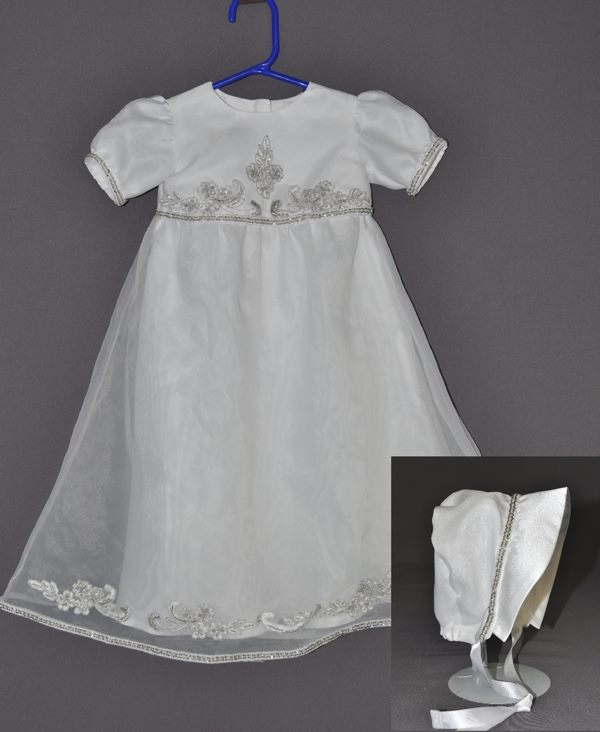 Kristen Abbate sent just her wedding dress train to have this gown made for her daughter. She plans to use the actual Wedding dress to have a communion dress made in the future.