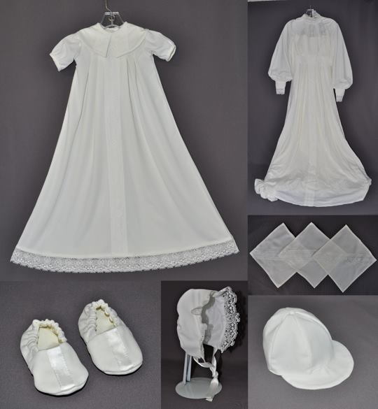 "Tina Bast sent her wedding dress to have a christening outfit made for her first grandson and any future grandchildren. We made our ""Bishop"" style gown. That allowed us to inset just a bit of the lace from the original WD. We also made matching booties, a girl's bonnet and boy's cap as well as a few kerchiefs."