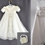Jen Burkart sent her wedding dress to have us make a baptism gown for her daughter. Her wedding dress had some lovely embroidery and bead work elements that we were able to work in. The flowing chiffon allowed us to use some fullness in the skirt.