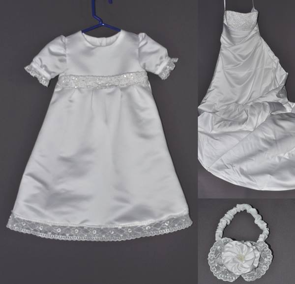 Paula Conway had us make this christening gown as a gift for her niece. The wedding dress did not have much embellishment so we added a little of our own lace.