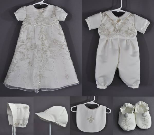 This little Gown and Romper ensemble was put together from Jonelle O'Shea's wedding dress. We tried to capture the pretty silver embroidery and some of the bead work from the WD.