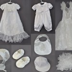 Janet Riddick sent her wedding dress to have outfits made for grandchildren. Her dress had lots and lots of ruffles. We incorporated a layer of ruffles on the christening gown. We also used some of the lovely embroidery work on both the gown and romper. A bib, booties and a cap completed the ensemble. However, we couldn't resist using some of those ruffles for a fun, decorative pillow.