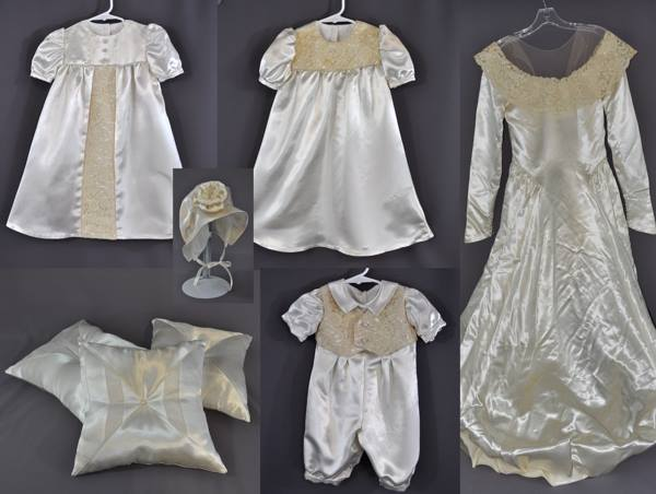 0bbab3ca9564 Three Christening Outfits from Wedding Gown - Fairy Godmother Creations