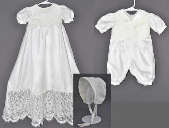 Verlyn Wiederholt sent a lovely wedding dress from her husband's family to have this outfit made for their grandchild.