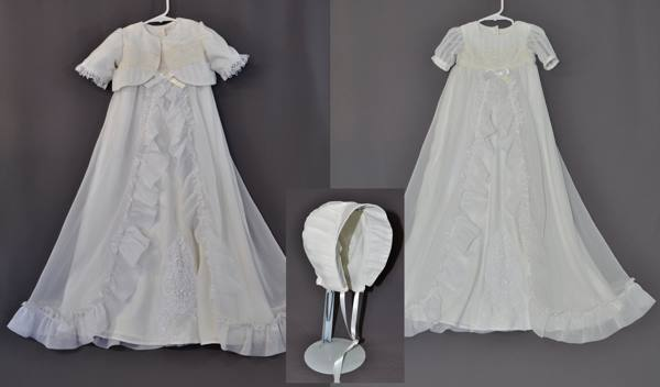 Sue Szymanski sent her wedding dress and her daughter's first communion dress to have a baptism outfit made for her first grandchild. Although we used elements from both dresses, most of the outfit came from the wedding dress. We made a little bolero jacket and a bonnet as well.