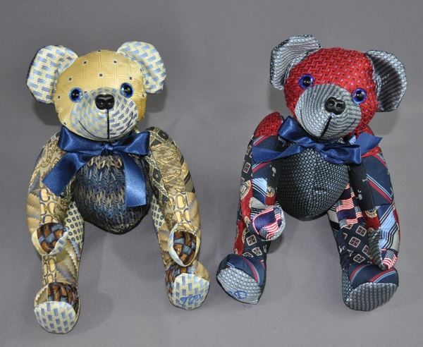Mary Hendrick sent two dozen of her late father's neck ties to have these two guys made. Neck ties make really nice bears. There is a richness to the fabrics that shows. We create a patchwork fabric from the ties and then cut the bears from that, so there is a lot of work involved. However, the finished bears are truly one-of-a-kind.
