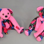 Janet Mollerups sent some clothing items from her late mother to have bears made for her daughters and granddaughters. She had a specific mix of the different fabrics in mind and we tried to give each individual bear its own personality.