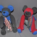 Rebecca Morrow Hugh sent some of her late brother-in-law's shirts to have memory bears made for her sister and niece. We mixed the shirt colors to create these two unique bears.