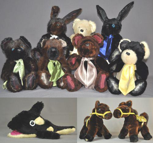 Ten Little Animals Dawn sent several fur coats and stoles that belonged to her late mother to have a variety of animals made in her memory. We ended up with five bears, two bunnies, a killer whale and two ponies. The bears and bunnies were made of mink and seal, the whale was made of seal and mink, the ponies were made of mouton, seal and mink.