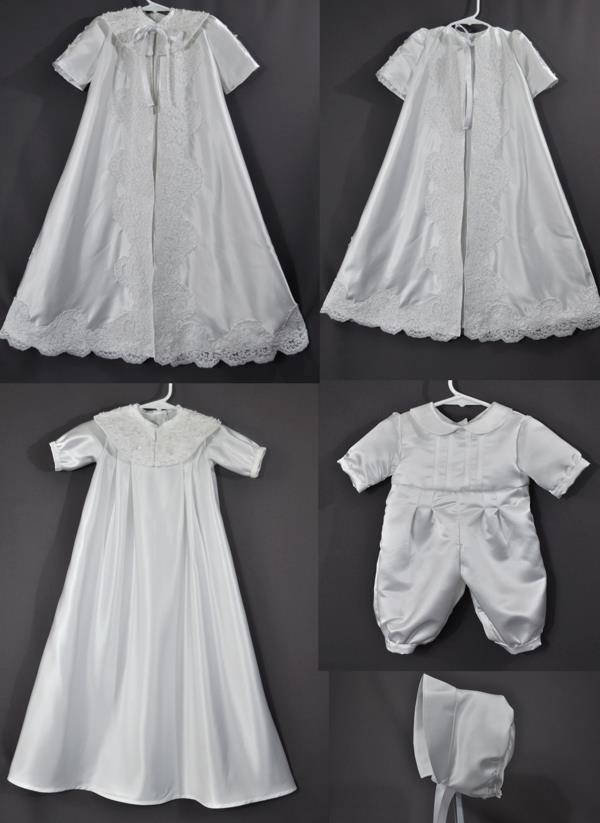 Kim Beining sent her wedding dress to have outfits made for her soon-coming grand child and any future grandchildren. She wanted a bishop style gown and a ceremonial robe as well as a romper. The robe allowed us to use some of the elegant lace from her wedding dress.