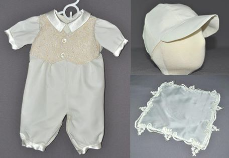 Bernadette sent me her wedding gown to have a romper made for her first grandson as well as a kerchief for her daugther's coming wedding. Her gown had some beautiful older lace that had colored with age. We decided to use that on the faux vest of the romper. It made such a beautiful little man's outfit.