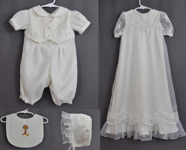 Donna Nojunas sent her wedding dress to have a gown and romper made for her granddaughter and future grandchildren. We decided on a princess style gown and tried to keep the original wedding dress hem.
