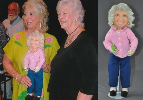 Georganne Baker wanted to take a special gift when she joined Paula Deen on a cruise at the beginning of this year. She sent me some pictures of her and Paula together and asked if I could make a doll in Paula's likeness. I made the doll back in September and promised not to mention it until after she had a chance to give the doll to Paula. Today, I received this picture in the mail along with a thankyou card. I added the picture of the doll.