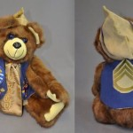 Sheree Goettler-Sopko wanted a memory bear that incorporates both her Mother and her Father's memories. She sent her mother's mink stole, a piece of leather from her father (an avid hunter) along with her father's military pins and patches. In addition to incorporating all of these elements as much as possible, we also build a zippered pocket into the back of the bear so she can store her parents wedding rings there.