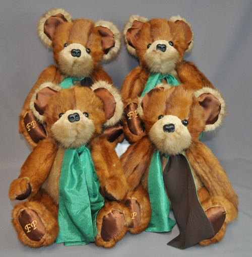 Bev Gutmann's fur coat and stole made four beautiful two-toned bears. She had us embroider her late mother's initials on a foot of each bear.