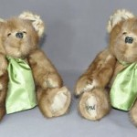 """Lullaby Bears Thomas sent me his mother's stole to have two bears made for his adult granddaughters. He took advantage of our music box option and we put a music box that plays """"Lullaby"""" in each one."""