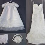 Wedding Gown's Chiffon Strips Enhance Unisex Christening Gown