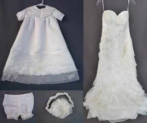 Wedding Gown's Chiffon Strips Enhance Unisex Christening Gown